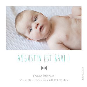 Carte de remerciement Merci lovely boy photo (dorure) blanc