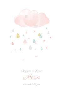 Menu de baptême tombe la pluie rose
