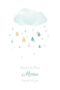 Menu de baptême blanc tombe la pluie bleu
