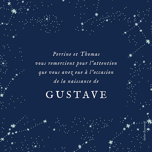 Carte de remerciement Petit univers photo (dorure) bleu nuit - Page 2