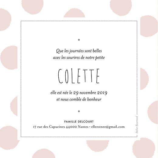 Faire-part de naissance Big dots carré photo rose