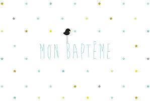Faire-part de baptême blanc lovely kid turquoise