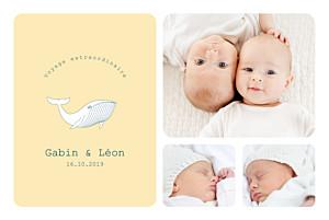 Faire-part de naissance Baleine extraordinaire twins jaune