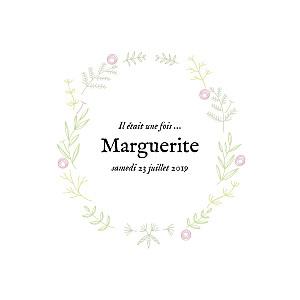Faire-part de naissance rose douceur champêtre 4p (dorure) rose