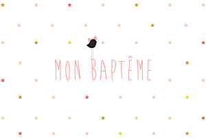 Faire-part de baptême original lovely kid rose