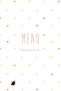 Menu de baptême original lovely kid rose
