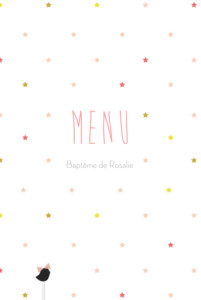 Menu de baptême Lovely kid rose