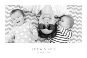 Faire-part de naissance Élégant 1 photo paysage jumeaux blanc