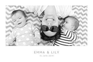Faire-part de naissance polaroid élégant 1 photo paysage jumeaux blanc