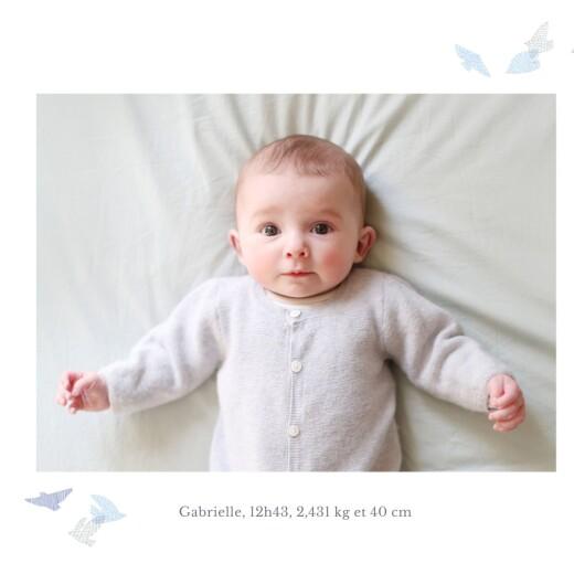 Faire-part de naissance Envolée d'oiseaux jumeaux bleu