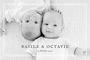 Faire-part de naissance jumeaux ma perle jumeaux 3 photos blanc