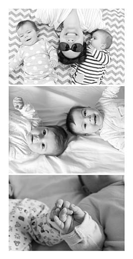 Faire-part de naissance 3 photos jumeaux (panoramique) blanc