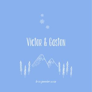 Faire-part de naissance Petites montagnes jumeaux bleu