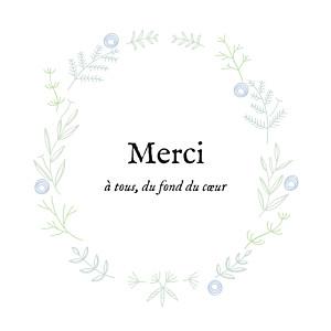 Carte de remerciement mixte merci douceur champêtre dorure bleu