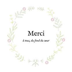 Carte de remerciement blanc merci douceur champêtre dorure rose