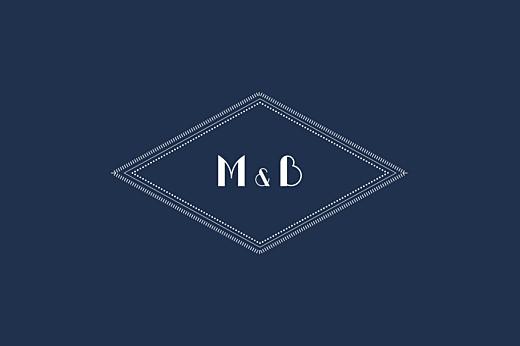 Carte de correspondance Monogramme bleu nuit