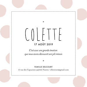 Faire-part de naissance sans photo big dots carré rose