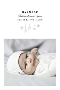 Faire-part de baptême avec photo liberty origami étoile photo bleu