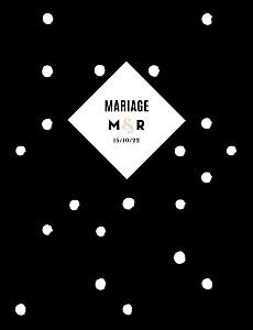Faire-part de mariage La vie en rose (dorure) noir