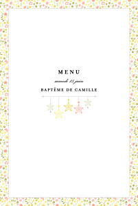 Menu de baptême avec photo liberty origami étoiles photo jaune