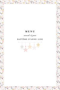 Menu de baptême Liberty origami étoiles photo rose