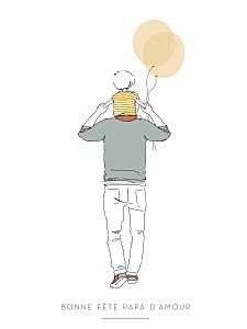 Affichette célébration lovely dad blanc