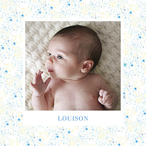 Faire-part de naissance bleu liberty étoiles 4p (dorure) argent