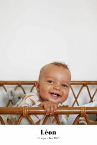 Faire-part de naissance Chic 1 photo portrait blanc