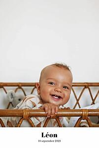 Faire-part de naissance classique chic 1 photo portrait blanc