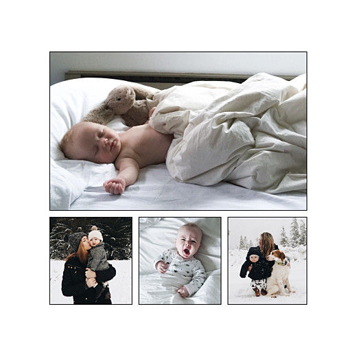 Faire-part de naissance Promesse d'hiver 4 photos blanc