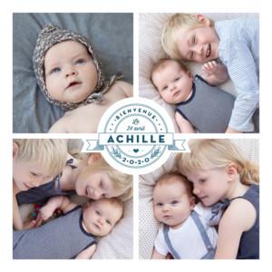 Faire-part de naissance Logo 6 photos bleu