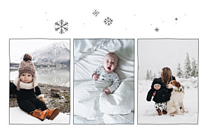 Faire-part de naissance blanc promesse d'hiver 3 photos rv blanc