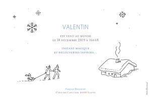 Faire-part de naissance Promesse d'hiver 3 photos rv blanc