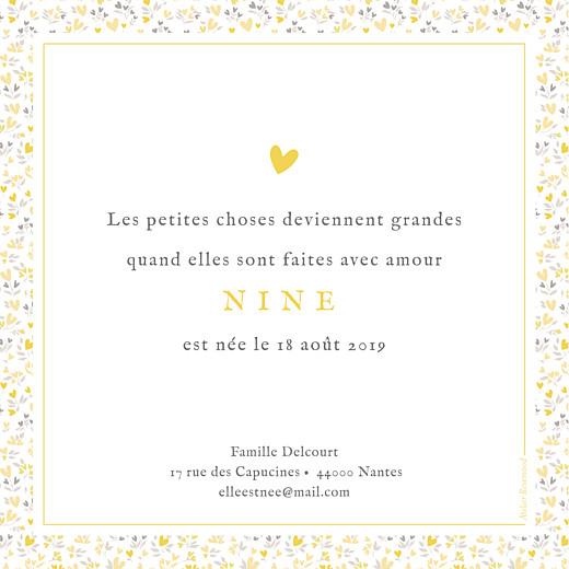 Faire-part de naissance Liberty cœurs (dorure) jaune