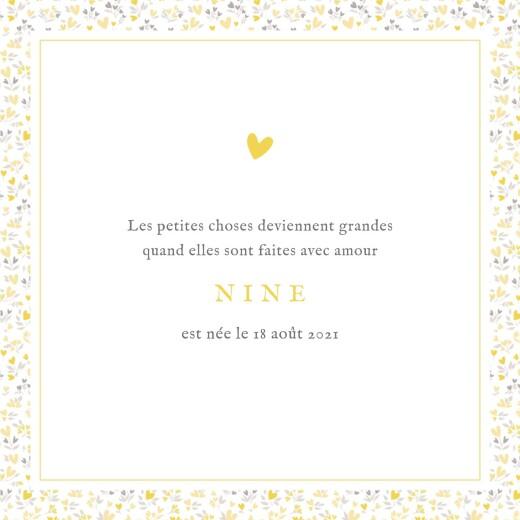 Faire-part de naissance Liberty cœurs 4 pages (dorure) jaune - Page 3