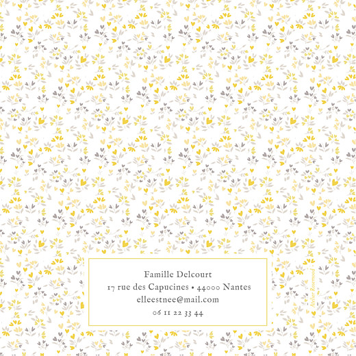 Faire-part de naissance Liberty cœurs 4 pages (dorure) jaune - Page 4