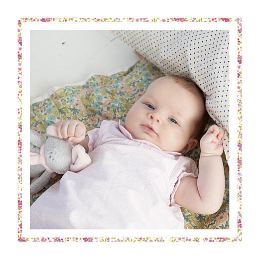Faire-part de naissance Liseré liberty (triptyque) rose