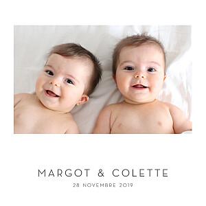 Faire-part de naissance polaroid élégant cœur jumeaux (dorure) blanc