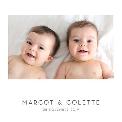 Faire-part de naissance Élégant cœur jumeaux (dorure) blanc finition