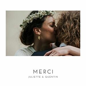 Carte de remerciement mariage avec photo élégant cœur (dorure) blanc