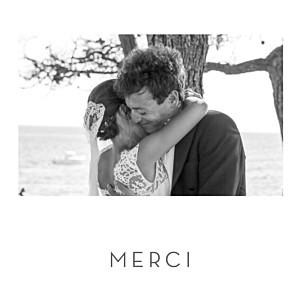 Carte de remerciement mariage classique petit élégant cœur (dorure) blanc