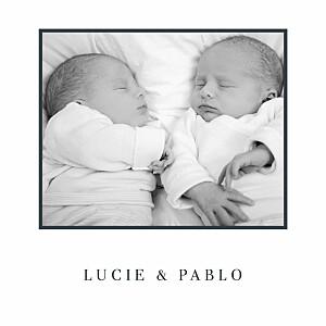 Faire-part de naissance Pois design jumeaux (dorure) blanc