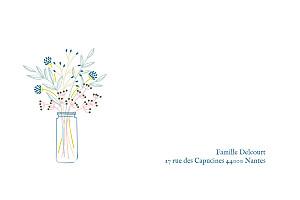 Carte de correspondance blanc instant fleuri blanc
