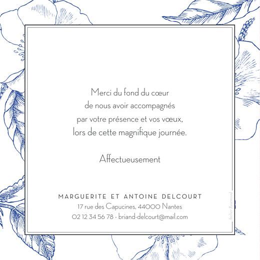 Carte de remerciement mariage Gravure chic bleu - Page 2