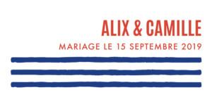 Etiquette de mariage Marinière bleu & orange