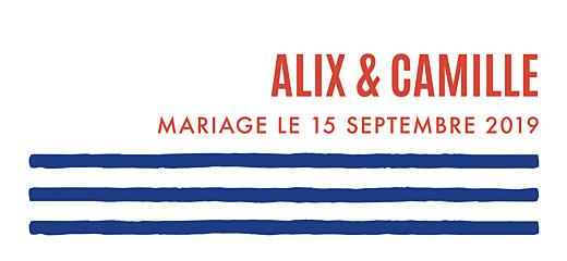 Etiquette perforée mariage Marinière bleu & orange