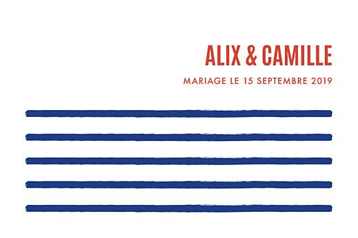 Marque-table mariage Marinière bleu & orange