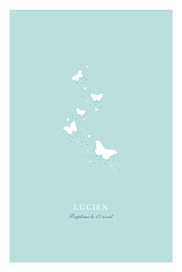 Menu de baptême mixte papillons bleu