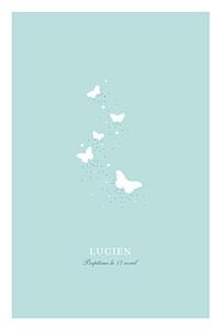 Menu de baptême animaux papillons bleu