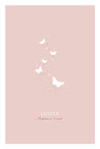 Menu de baptême Papillons rose
